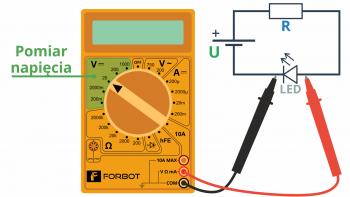 Przykładowe, równoległe wpięcie miernika i pomiar spadku napięcia na diodzie