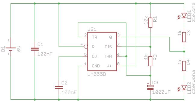 Schemat układu testującego działenie 555.