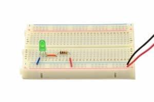 Pierwsza wersja układu: dioda + rezystor.