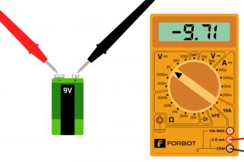 Pomiar baterii z odwrotnym podłączeniem sond